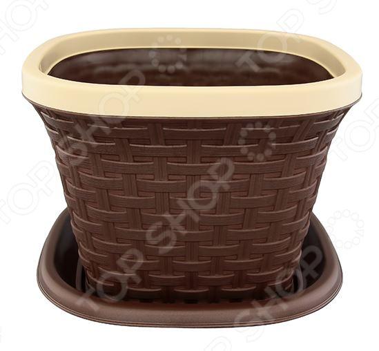 Кашпо квадратное с поддоном Violet «Ротанг». Цвет: коричневый