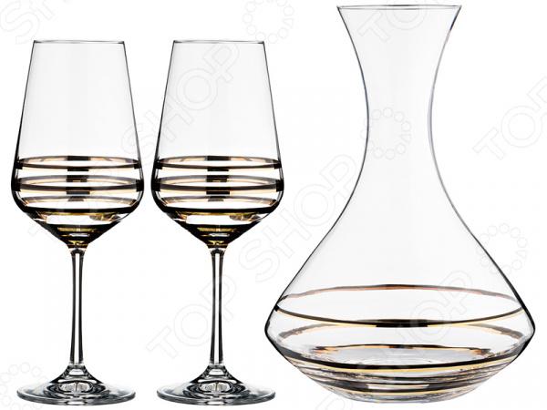 Набор для вина: графин и 2 бокала Bohemia Crystal Wellness
