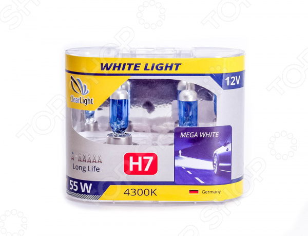 Комплект автоламп галогенных ClearLight WhiteLight H7 12V-55W