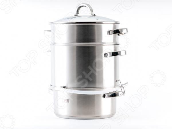 Соковарка Gipfel MESSINA специальная кастрюля, которая позволит готовку на пару. В такой посуде можно варить сок из фруктов. Работает как пароварка. Готовка пищи с помощью пароварки сохранит силы и время, при этом сберегает в продукте большое количество витаминов и микроэлементов.  Особенности и преимущества  Кастрюля позволяет готовить больше блюд, так как оснащена сразу несколькими ярусами.  Поможет значительно сэкономить время и место на кухне.  Корпус из нержавеющей стали посуда достаточно прочная, быстро нагревается и не подвергается коррозии.  Посуда не окисляется и не взаимодействует с продуктами питания.  Оснащена теплоемким индукционным дном.  Обеспечивает свободную циркуляцию пара при закипании.