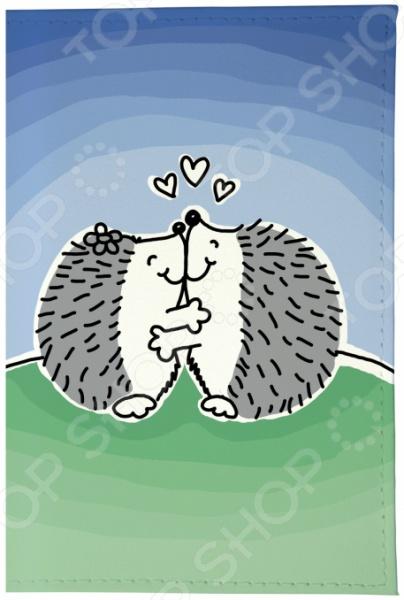 Обложка для паспорта кожаная Mitya Veselkov «Влюбленные ежики» бусы из янтаря солнечные ежики