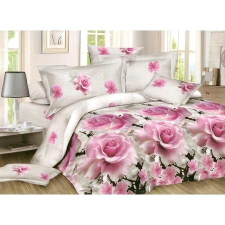 Комплект постельного белья «Дикая роза». Евро. Цвет: розовый