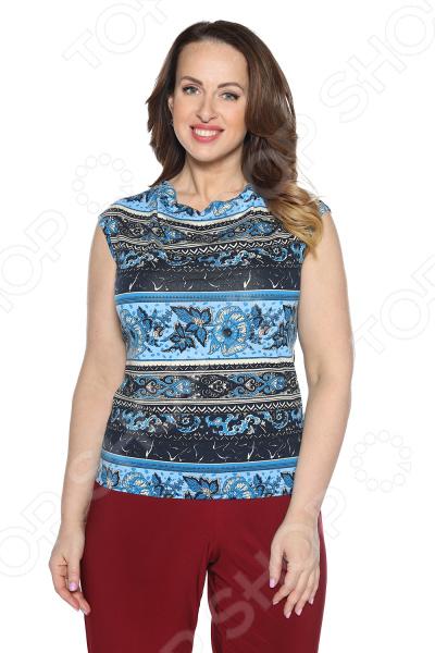 Блуза Интерлок «Цветущий луг». Цвет: синий