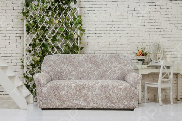 Натяжной чехол на трехместный диван Еврочехол «Виста. Буше» 2