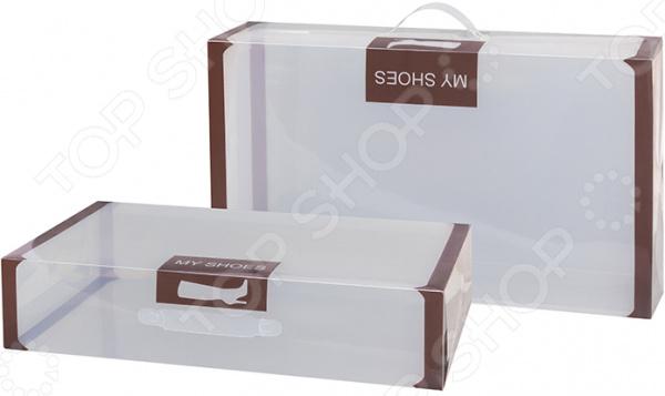 Набор коробок для хранения обуви EL Casa с ручкой «Коричневая кайма»