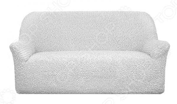 Натяжной чехол на трехместный диван Еврочехол Еврочехол «Микрофибра. Белый Жемчуг»