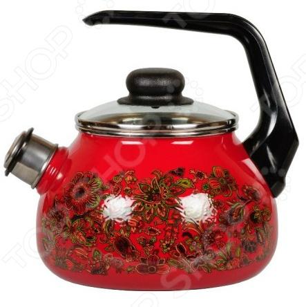 Чайник эмалированный со свистком 1RA12 Imperioвишня