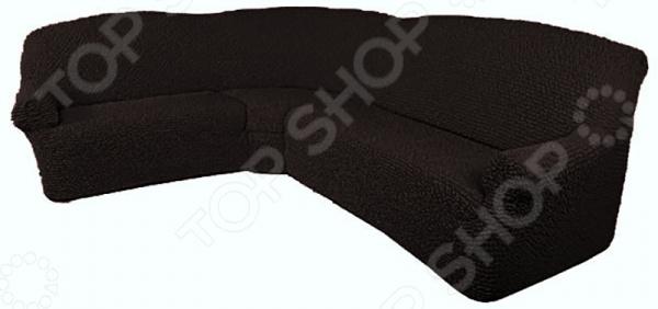 Натяжной чехол на классический угловой диван Еврочехол «Микрофибра. Черный шоколад»