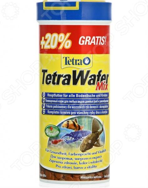 Корм для травоядных и хищных рыб Tetra WaferMix корм tetra tetramin xl flakes complete food for larger tropical fish крупные хлопья для больших тропических рыб 10л 769946