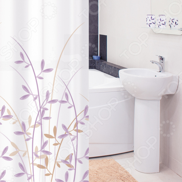 Штора для ванной Tatkraft Immanuel Olive