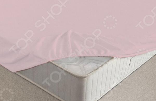 Простыня на резинке Ecotex махровая. Цвет: розовый