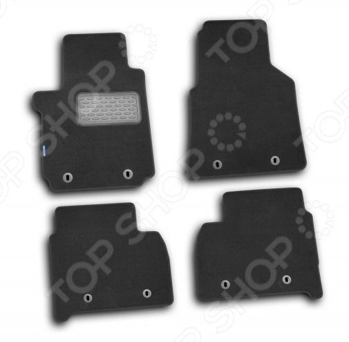 Комплект ковриков в салон автомобиля Novline-Autofamily Volkswagen Amarok 2010 пикап. Цвет: черный