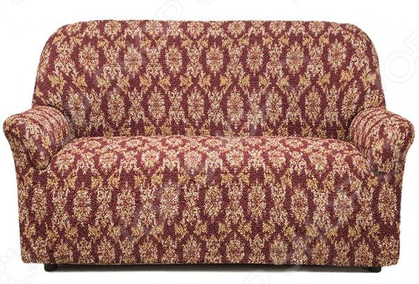 Натяжной чехол на двухместный диван Еврочехол «Виста. Классик Бордо»
