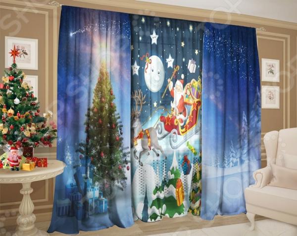 фото Комплект: шторы и тюль ТамиТекс «Сказочный Санта Клаус», Фотошторы классика