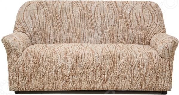 Натяжной чехол на трехместный диван Еврочехол «Виста. Элегант Крем»