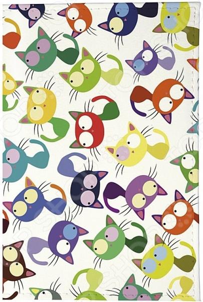 Обложка для автодокументов кожаная Mitya Veselkov «Цветные кошки мешанина»