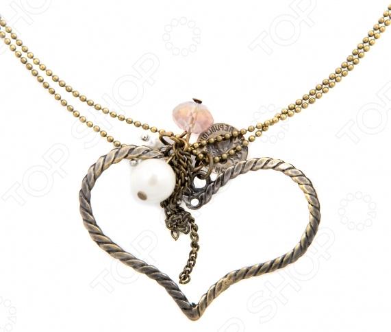 Кулон Mitya Veselkov «Сердце с бусинами» жен мотаться уникальный дизайн в виде подвески кулон серебряный одинарная цепочка перо серьги назначение повседневные