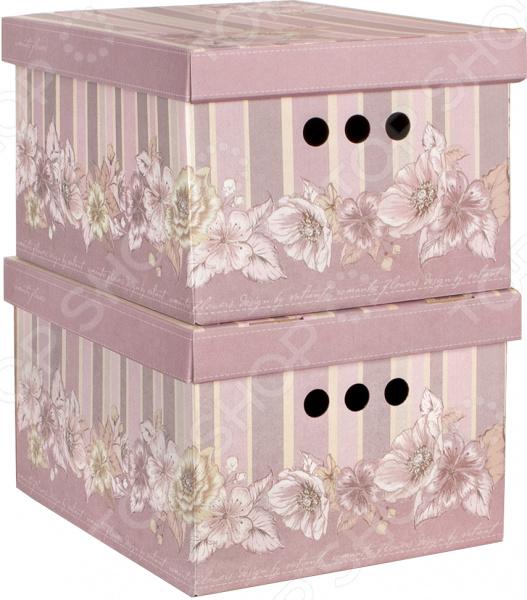 Набор коробок для хранения Valiant Romantic Flowers набор кофров для хранения valiant зебра 2 шт