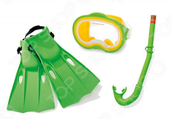 Набор для плавания: маска, трубка, ласты Intex «Приключения»