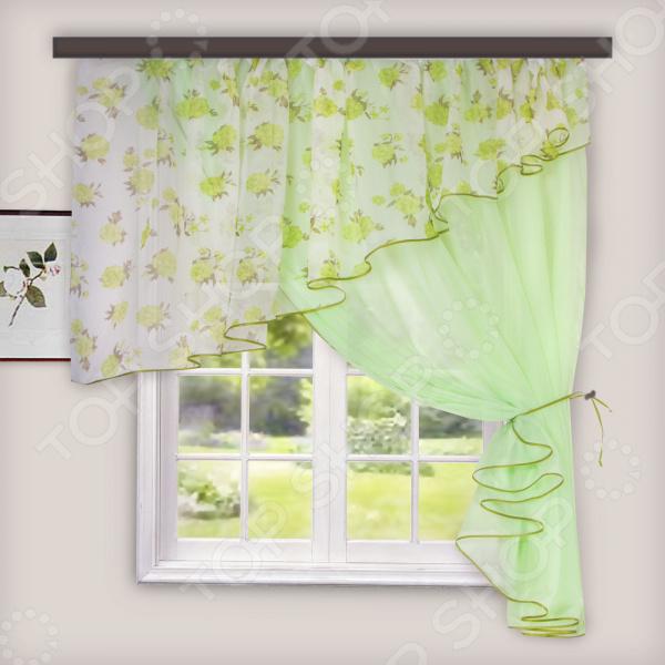Комплект легких штор правосторонний WITERRA «Лира». Цвет: светло-зеленый. В ассортименте
