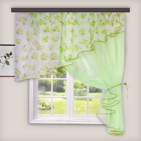 Купить Комплект легких штор правосторонний WITERRA «Лира». Цвет: светло-зеленый. В ассортименте