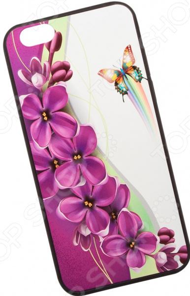 Чехол с защитным стеклом для iPhone 6/6S «Сиреневые цветочки»