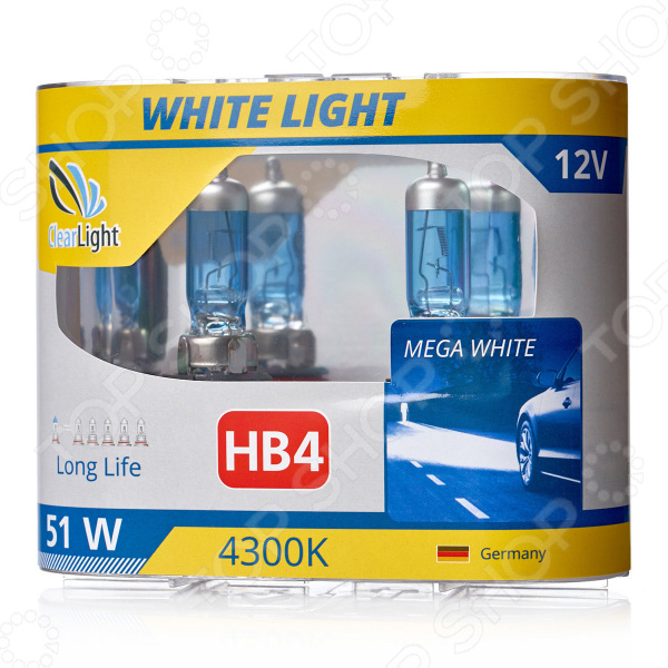 Комплект автоламп галогенных ClearLight WhiteLight HB4 12V-55W комплект автоламп галогенных clearlight whitelight h1 12v 55w