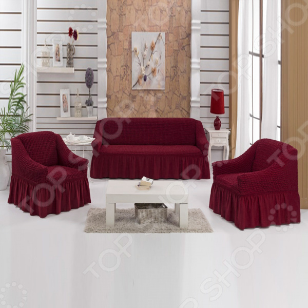 Натяжной чехол на двухместный диван и чехлы на два кресла Karbeltex