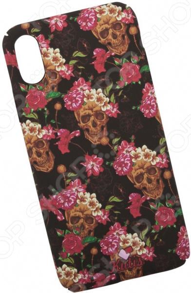лучшая цена Чехол для iPhone X KUtiS Skull BK-5 «Черепа и цветы»