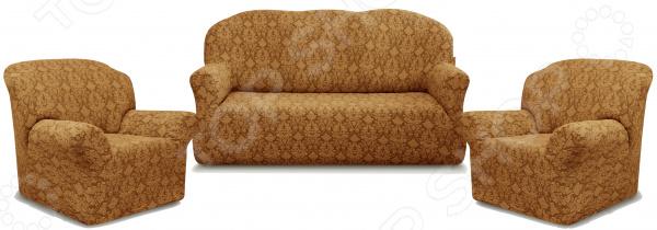 Zakazat.ru: Натяжной чехол на трехместный диван и чехлы на 2 кресла Karbeltex «Престиж» 10027