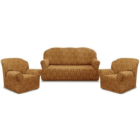 Купить Натяжной чехол на трехместный диван и чехлы на 2 кресла Karbeltex «Престиж» 10027