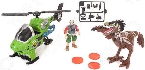 Набор игровой Chapmei «Динозавр Трицератопс и охотник на вертолете» good dinosaur 62302 хороший динозавр фигурки буч и трицератопс