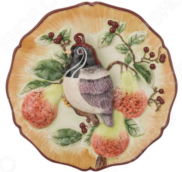 Тарелка декоративная «Птичка с хохолком на ветке» - артикул: 1863587
