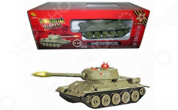 Танк на радиоуправлении ABtoys «Т34» танк игрушечный abtoys abtoys радиоуправляемый танк абрамс 1 24 с имитацией стрельбы