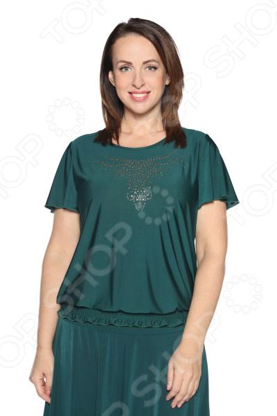 Блуза «Ослепительная» с  мерцающим декором. Цвет: зеленый