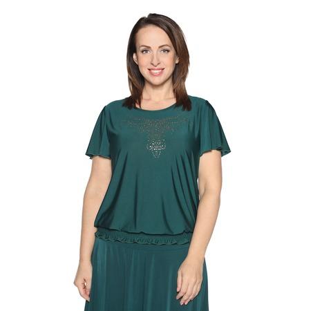 Купить Блуза «Ослепительная» с  мерцающим декором. Цвет: зеленый