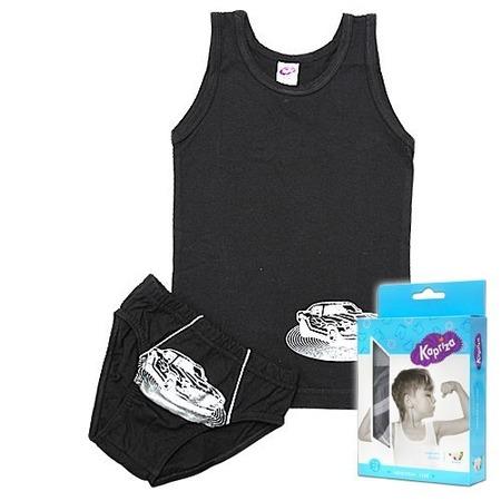 Купить Комплект нижнего белья: майка и трусы Kapriza Silver Car ЯВ103332. Цвет: черный