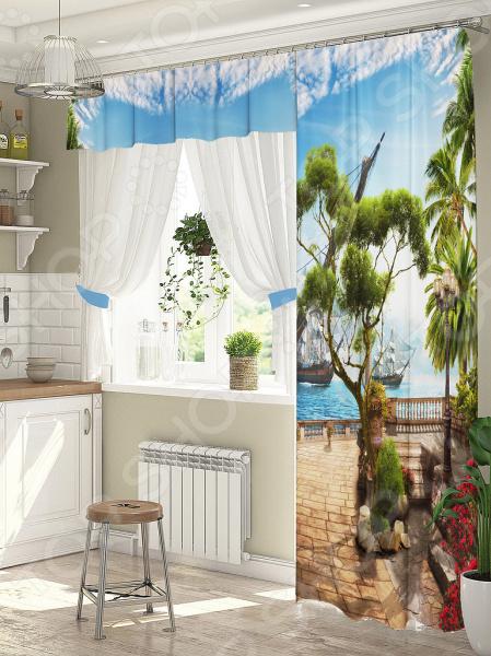 фото Комплект штор для окна с балконом ТамиТекс «Пристань», Шторы для окна с балконом