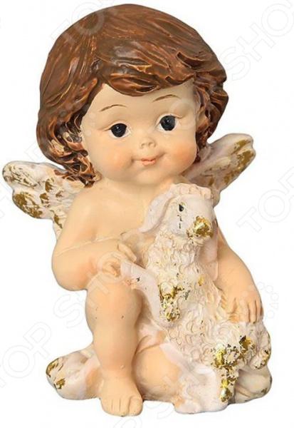 Фигурка декоративная Elan Gallery «Ангелочек с золотой овечкой» фигурки elan gallery фигурка декоративная белка артистка