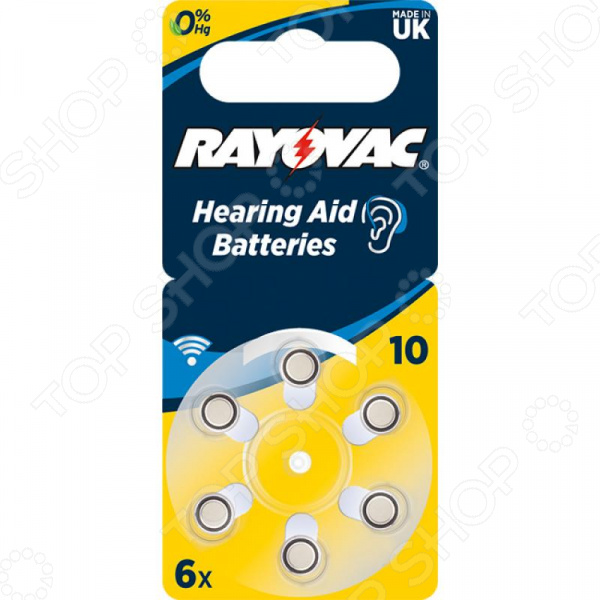Комплект батареек для слуховых аппаратов Rayovac Acoustic Type 10 Hearing Aid bte hearing aid sound amplifier adjustable s 998 digital hearing aid behind ear deaf sound voice amplifier enhancement