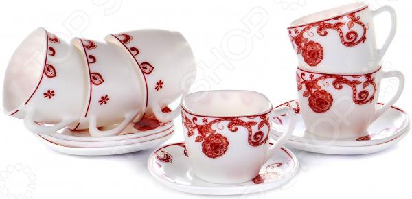 Набор чайный OlAff «Красные цветы» JY-S-12-06 набор чайный olaff цветы 12 предметов