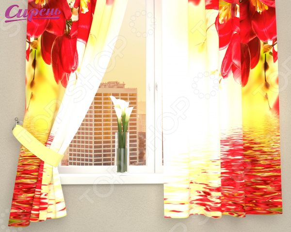 Фотошторы Сирень «Букет с красными цветами»