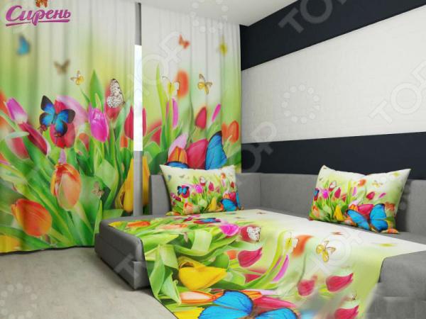 Комплект: фотошторы и покрывало Сирень «Бабочки» фотошторы сирень фотошторы оттенки цветов
