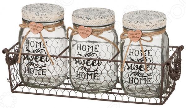 Набор банок для сыпучих продуктов Home 222-070 gift planet набор банок для сыпучих продуктов прованс из 4 х шт 13231