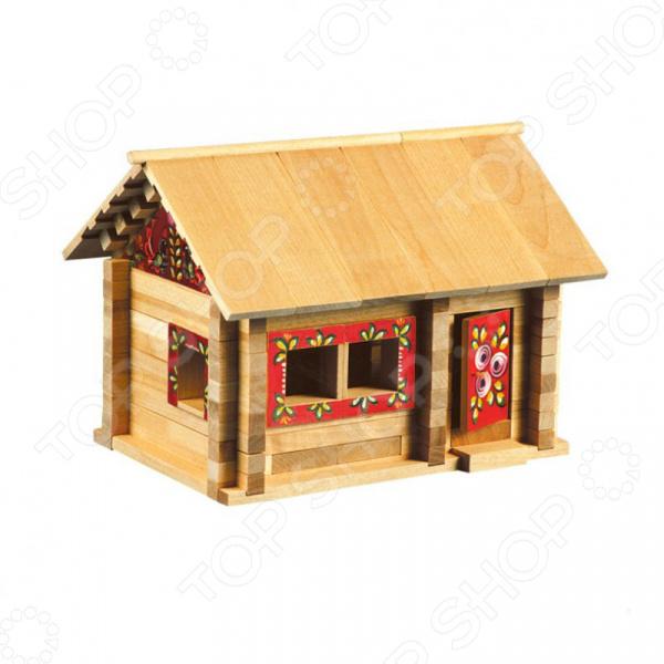 Конструктор деревянный со светом Теремок «Избушка: Три медведя с мебелью»