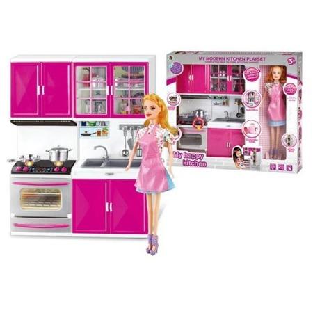 Купить Набор мебели игрушечный Shantou Gepai с куклой My happy kitchen