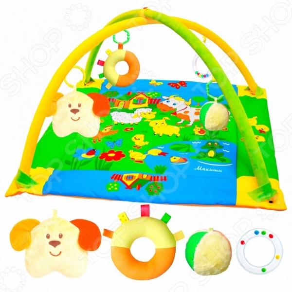 Коврик игровой Мякиши с дугами «Лужайка с собачкой». В ассортименте игровой коврик умка квадратный с мягкими игрушками на подвеске