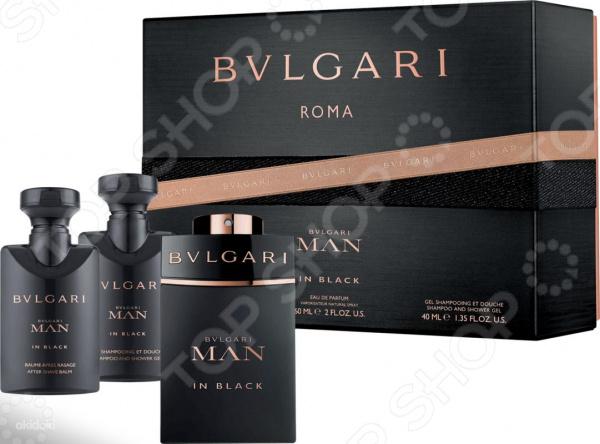 Набор мужской: парфюмерная вода, бальзам после бритья, гель для душа и шампунь BVLGARI Man In Black туалетная вода bvlgari туалетная вода bvlgari man 30 мл
