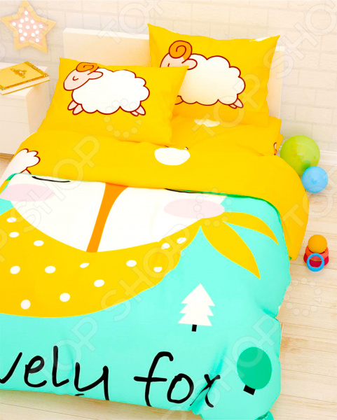 Детский комплект постельного белья Сирень «Лис и барашки»