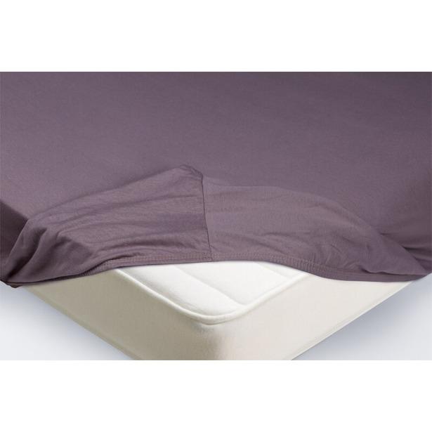 фото Простыня на резинке Ecotex трикотажная. Цвет: фиолетовый. Размер простыни: 90х200+20 см